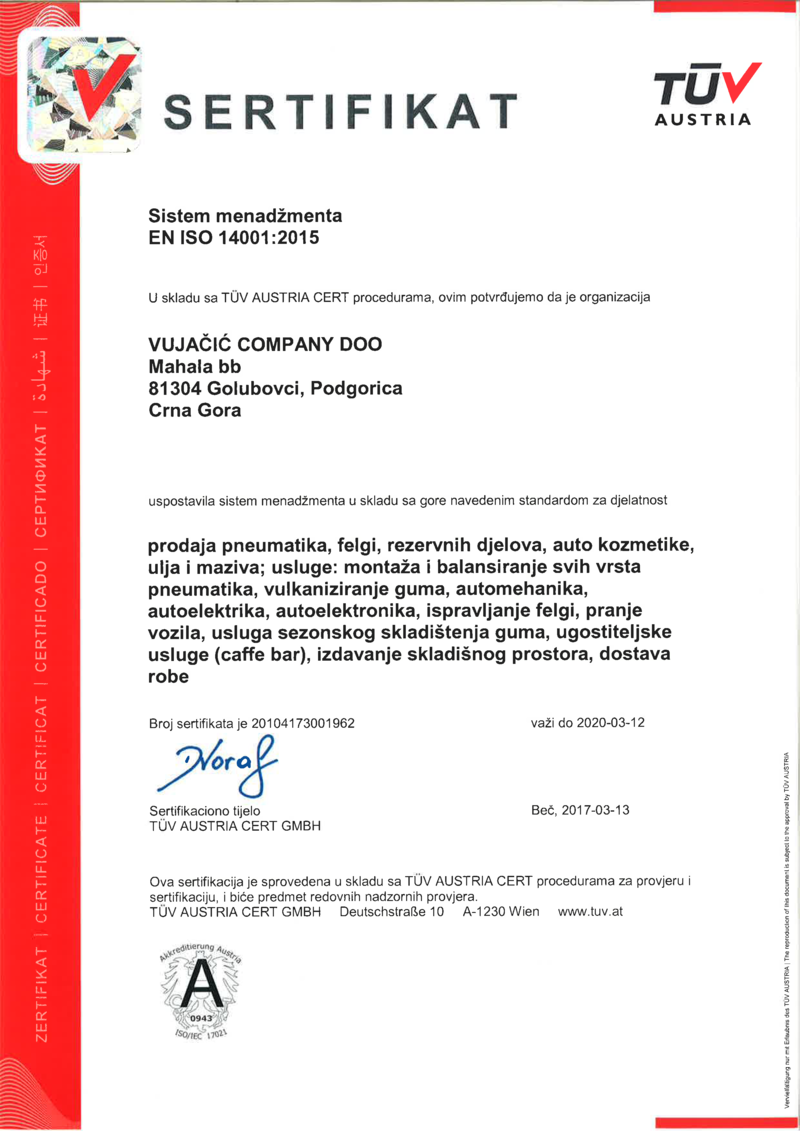 ISO 14001:2015 MNE