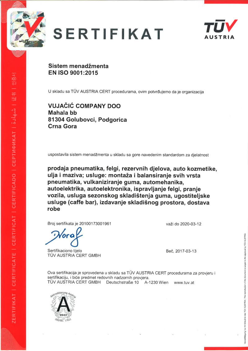 ISO 9001:2015 MNE